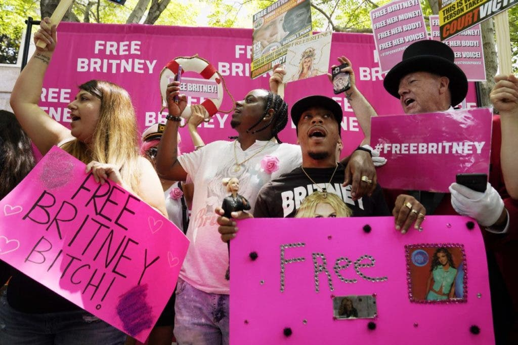 Britney Spears supporters demonstrate outside a hearing concerning the pop singer's conservatorship at the Stanley Mosk Courthouse, Wednesday, July 14, 2021, in Los Angeles. (AP Photo/Chris Pizzello)