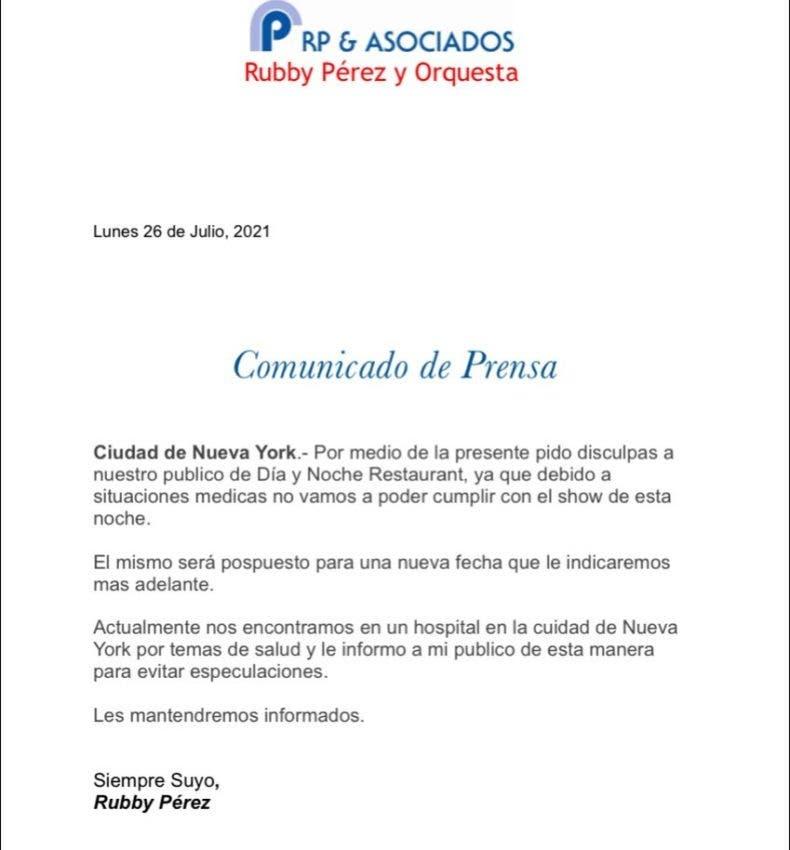Rubby Pérez hospitalizado en Nueva York