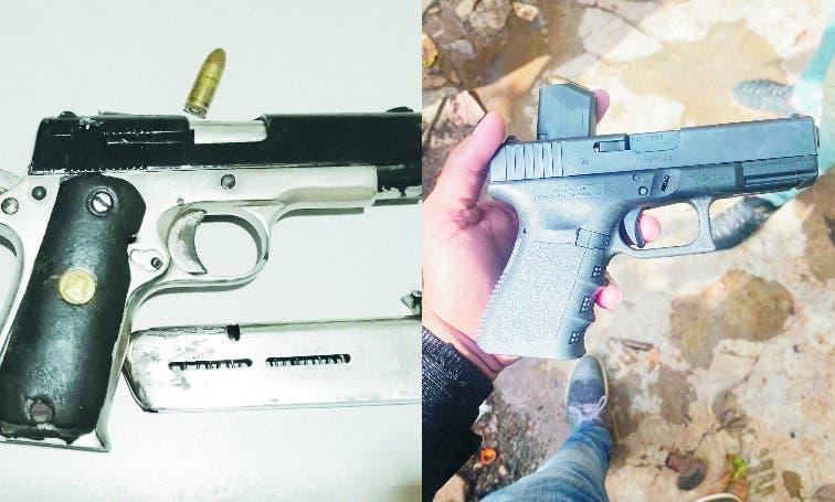 Las dos pistolas  9 milímetros incautadas a los asaltantes. supuestamente implicados en las muertes de un mayor del Ejército y el locutor Many Méndez.