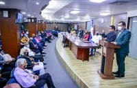 El presidente de  la JCE, Román Jáquez, habla durante el encuentro con los titulares de Juntas Electorales del Distrito Nacional y la región sur.