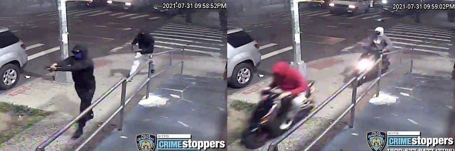 El lunes la Policía en Nueva York difundió esta fotografía de los dos hombres que realizaron un tiroteo en Queens que dejó al menos 10 personas heridas.