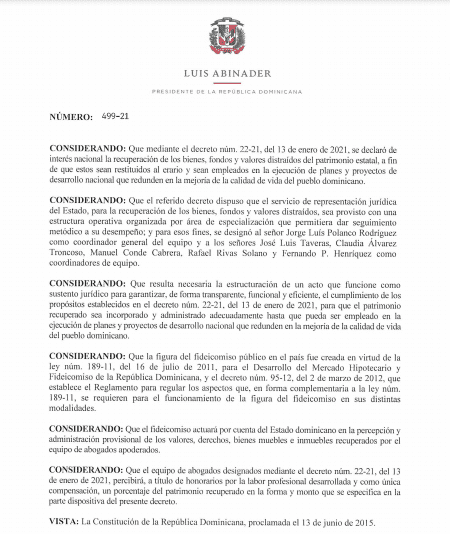 Gobierno emite decreto sobre Fideicomiso