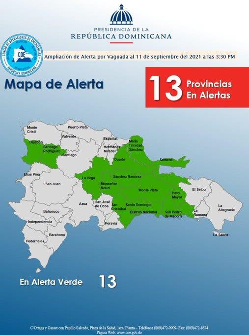 El COE ha decretado un alerta verde para 13 provincias del país por una tormenta.