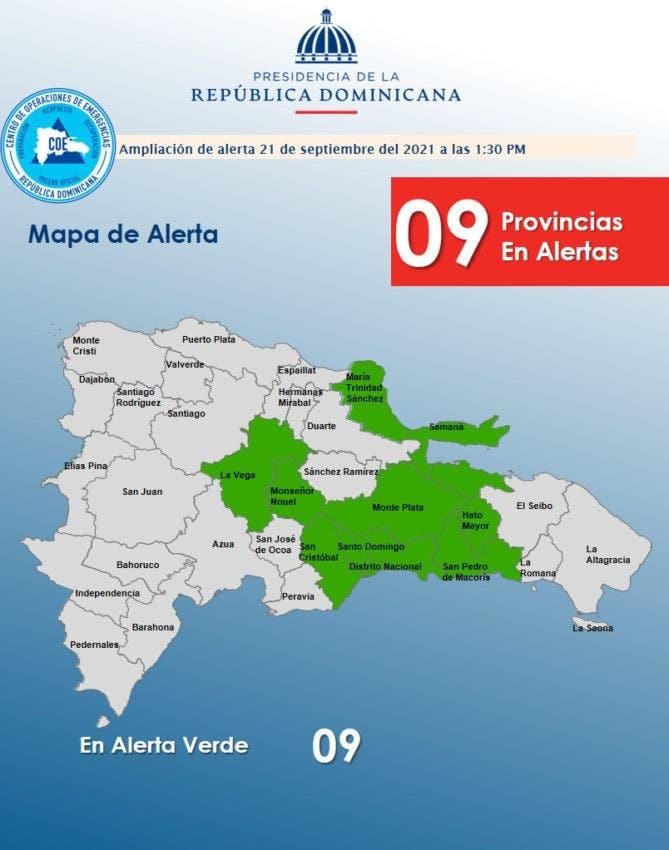 COE emite alerta para 5 provincias por aguaceros
