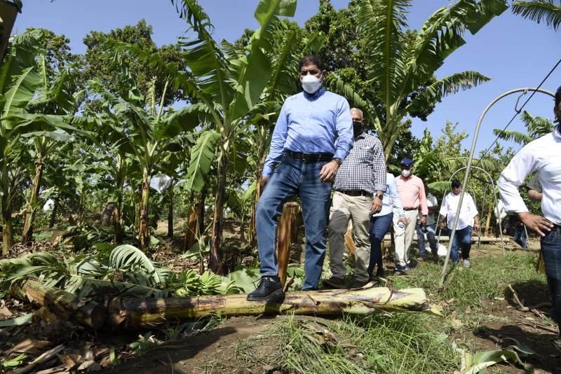 El ministro de Agricultura, Limber Cruz López, visitó varias comunidades de esta demarcación para evaluar los daños a la agropecuaria causados por un tornado ocurrido la tarde de este sábado.