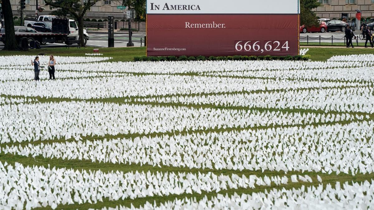 EEUU honra a muertos por covid con 600.000 banderas blancas en Washington