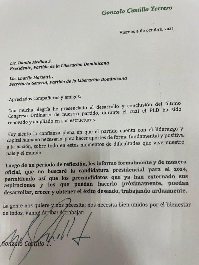 Carta de Gonzalo Castillo dirigida a Danilo Medina, presidente del PLD.