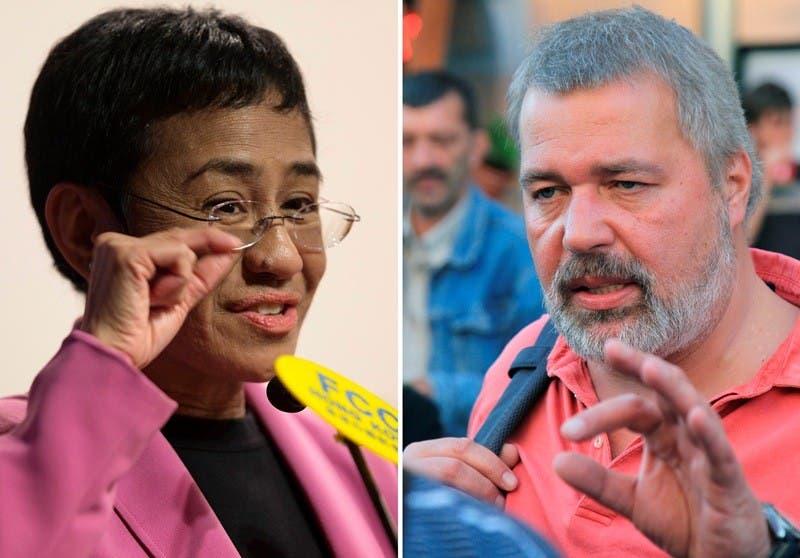 Nobel de la paz para periodistas filipina y ruso