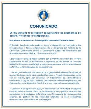 Mediante este comunicado el PRM retó al PLD para que se sometan a una investigaciones internacional sobre patriomino.